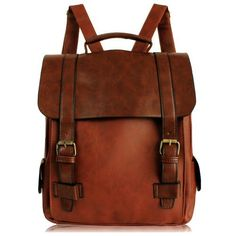Retro College Double Hasp Solid Brown Travel School Bag Backpack
