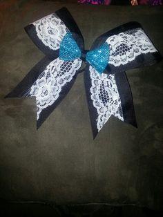 Diy cheer bow. Navy Blue instead of black.