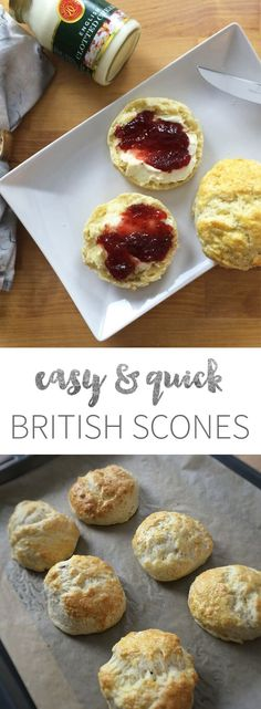 Easy English Style Afternoon Tea Scones are perfect for entertaining guests Downton-Abbey-Style and are super fast and easy to make! You can even make them in advance and freeze them. This traditional British recipe tastes great with clotted cream and jam. #AfternoonTea #Baking #SconesRecipes