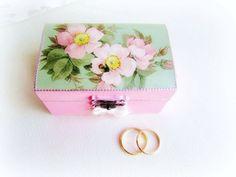 Wedding ring box ring bearer box floral wooden box by GattyGatty