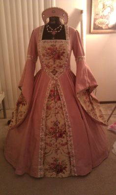 #13 - Tudor Pink Gown + Pink Flower Bodice Jewelry - https://www.zibbet.com/renaissancespiritjewels/pink-flowers-bodice-adornment