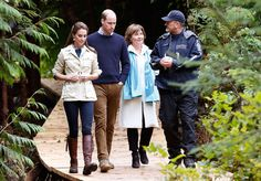 THe Duchess of Cambridge and Prince William walk with B. premier Christy Clark and a conservation officer during a tour of the Great Bear Rainforest in Bella Bella, British Columbia, Canada.