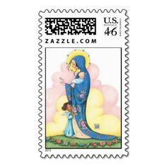 Shop Mary and Baby Jesus Stamp created by MaryEngelbreit. Claude Monet, Vincent Van Gogh, Images Of Mary, Postage Stamp Art, Find Quotes, Mary Engelbreit, Positive Messages, Baby Jesus, Pattern Art