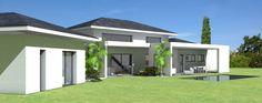 Maison contemporaine à toit ardoises et grande terrasse couverte - Atelier d'architecture Scénario