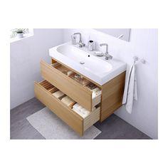 GODMORGON / BRÅVIKEN Sink cabinet with 2 drawers, white stained oak effect white stained oak effect 39 3/8x19 1/4x26 3/4