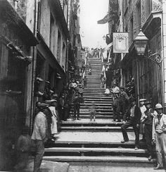 Breakneck Steps, Quebec City, QC, about 1870 - vintage everyday: Old Photographs of Canada from Quebec Montreal, Old Quebec, Quebec City, Samuel De Champlain, Le Petit Champlain, Chute Montmorency, Chateau Frontenac, Canada Eh, Photo Vintage