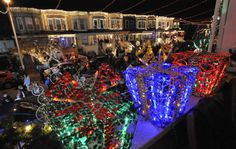Lighting of the 34th Street with Christmas lights in Hampden.