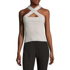Scripted Metallic Crossover Rib-Knit Top ($50) ❤ liked on Polyvore featuring men's fashion and men's clothing