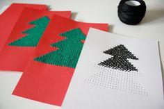 Ristipistotut joulukortit