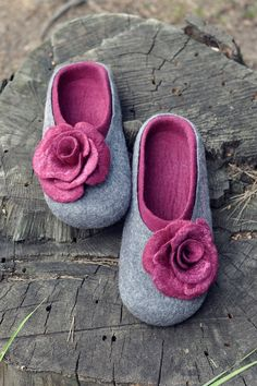 Felted slippers for women - Grey & Bordo - Made to order - Wool wearing / Silk flowers / Handmade / Home shoes. $65.00, via Etsy.