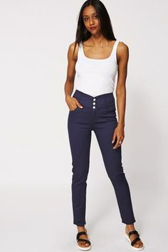 High Waisted Navy Summer Trousers - Passions69