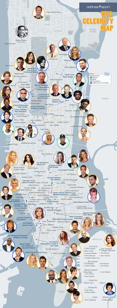 Celebrity Map Plotting the Celebrities Who Live in NYC Infographic. Topic: New York apartment, actor, actress, rich and famous.
