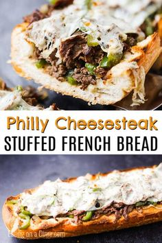 This amazing Philly Cheesesteak Stuffed French Bread Recipe is so cheesy and stuffed with tons of flavor. Plus, this delicious meal takes just minutes. Tasty Bread Recipe, Banana Bread Recipes, French Bread Recipes, Stuffed Bread Recipes, Cheesy Recipes, Beef Recipes, Cooking Recipes, Recipies, Appetizer Sandwiches