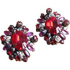Vintage 1950's Large Red & Purple Crystal Earrings