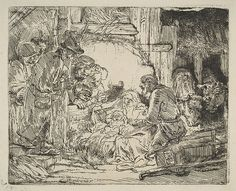 The Adoration of the Shepherds, with the lamp Rembrandt (Rembrandt van Rijn)  (Dutch, Leiden 1606–1669 Amsterdam) Date: ca. 1654 Medium: Etching; first state of two Dimensions: sheet: 5 9/16 x 6 3/4 in. (14.2 x 17.2 cm) Classification: Prints Credit Line: Rogers Fund, 1918 Accession Number: 18.71