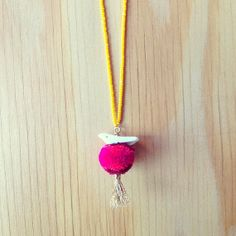 Hot Pink Misa Necklace with Pompom