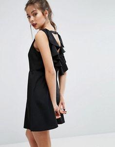 Boohoo Backless Ruffle A Line Mini Dress