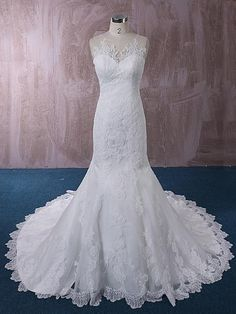 Lace Mermaid Wedding Dress with Illusion Neckline Sweetheart Wedding Dress, Lace Mermaid Wedding Dress, Lace Dress, Wedding Frocks, New Wedding Dresses, Illusion Neckline, Ball Gown Dresses, Sister Wedding, Dress Backs