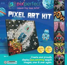 Pix Perfect Pixel Art Kit for Fans of Pixel Art, Perler Beads, Crafts or Sequins. 20 Colors, Design Ideas, Hours of Creative Fun! Diy Crafts For Kids, Fun Crafts, Lite Brite, Sports Team Logos, Box Design, Design Ideas, Toy Craft, Craft Kits, Perler Patterns
