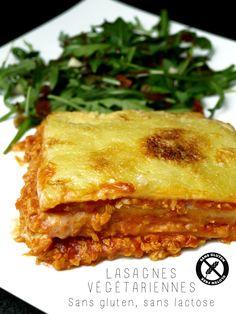 Part de lasagnes végétariennes sans gluten, sans lactose