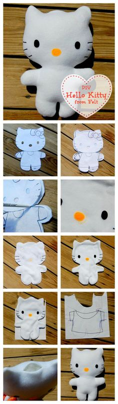 DIY Hello Kitty from Felt and like OMG! get some yourself some pawtastic adorable cat shirts, cat socks, and other cat apparel by tapping the pin!