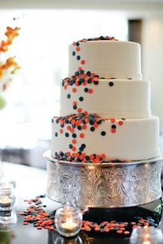 Cute Navy and Coral wedding cake