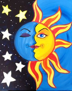 "My ""Space Case"" painted @ Painting with a Twist-Miami - paintingfuls Oil Pastel Drawings, Oil Pastel Art, Colorful Drawings, Art Drawings For Kids, Moon Painting, Sun Art, Crayon Art, Mexican Folk Art, Whimsical Art"