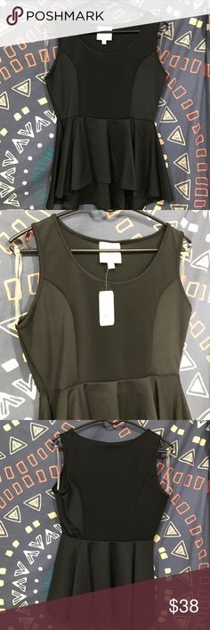 Black peplum top Brand new black peplum top by Romeo and Juliet Couture. Never worn in great condition Romeo & Juliet Couture Tops