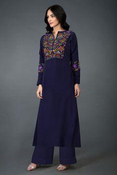 This Eclipse Blue long tunic k Kurti Neck Designs, Kurta Designs Women, Dress Neck Designs, Kurti Designs Party Wear, Kurti Embroidery Design, Embroidery Fashion, Embroidery Dress, Stylish Dress Designs, Stylish Dresses