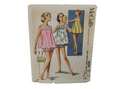 50s -McCalls Pattern No. 4030- Womens/Junior sewing pattern for sortie pajamas and two different choice of tops. View A top has baby-doll bodice with ruffling and bottom scalloping, View B has a tank-top bodice with top and bottom ruffling.( Envelope has a few tears.)
