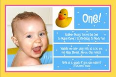 Rubber duck invitation digital file 4x6 or 5x7 by digitalparties 1st birthday invitation for chloe rubber duck photo card and everything nice filmwisefo Image collections