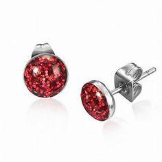 7mm Stainless Steel Red Druzy Crystal Circle Stud Earrings Pair | eBay