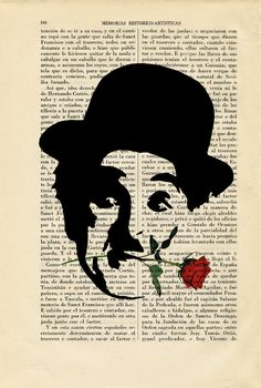 Charles Chaplin with Rose Stencil Art Print by ThePurpleHamster