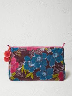 Iris floral velvet wash bag