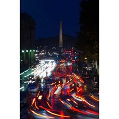 Elevated view of traffic on the road at night viewed from Eglise Madeleine church Rue Royale Paris Ile-de-France France Canvas Art - Panoramic Images (24 x 36)