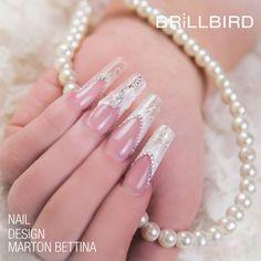 Model elegant din gelul de constructie Uniq de la BrillBird Love Nails, Nail Designs, Wedding Rings, Engagement Rings, Pearls, Bridal, Diamond, Bracelets, Jewelry