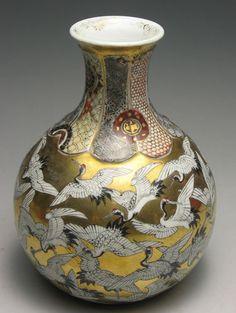 Japanese Kutani Vase  Cranes represent longevity in Japanese culture