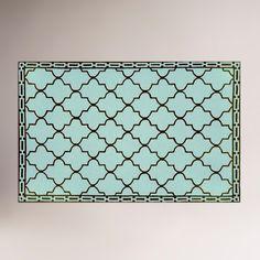 Aqua Floor Tile Indoor-Outdoor Rug   World Market