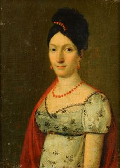 School of Andrea Appiani, Elisa Bonaparte    Love the hairdo and position of the hair comb!