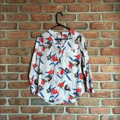 Floral Tunic Blouse EUC white floral tunic blouse. Worn once-just needs a good iron. Old Navy Tops Blouses