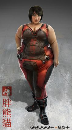That rare moment when a concept artist designs a fat character who is realistic, cool, and not neck-deep in a mire of horrible, offensive fat stereotypes. Artist: Robert SimonsI'd love to see him return to this character, honest Fat Character, Female Character Design, Character Concept, Plus Size Art, Fat Art, Chubby Girl, Cyberpunk Art, Sci Fi Characters, Fat Women