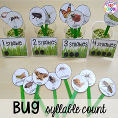 Bug Centers and Activities Bug syllable count! Bug themed activities and centers for preschool, and kindergarten (freebies too)! Perfect for spring, summer, or fall! Kindergarten Freebies, Kindergarten Lesson Plans, Preschool Literacy, Preschool Lessons, Kindergarten Activities, Syllables Kindergarten, Literacy Centers, Preschool Ideas, Craft Ideas