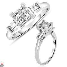 Ebay NissoniJewelry presents - Ladies' 3/4CT Engagement Ring  4 Stone Princess Quad Head 14K White Gold    Model Number:LSV5357L_W476    http://www.ebay.com/itm/Ladies-3-4CT-Engagement-Ring-4-Stone-Princess-Quad-Head-14K-White-Gold/221630369099
