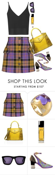 """""""Untitled #8850"""" by miki006 ❤ liked on Polyvore featuring Alessandra Rich, Bulgari, Ethan K, Chanel, Karen Walker, Gucci and Topshop"""