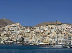 Ermoupoli of Syros island, Cyclades. Syros Greece, Places In Greece, Sailing Holidays, San Francisco Skyline, Paris Skyline, Dolores Park, Island, Travel, Beautiful