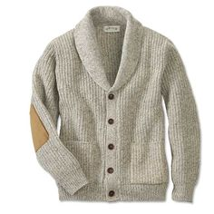 It's the sweater that conjures up images of crackling fires and snifters of fine cognac. Knitted from a wool/nylon blend for premium warmth and long-wearing durability, this classic button-front shawl cardigan sweater for men is tailored with two lower patch pockets and detailed with faux-sueded elbow patches for a distinctive touch. Wool/nylon. Washable. Made in USA. <br />Sizes: M(38-40), L(42-44), XL(46-48), XXL(50-52).