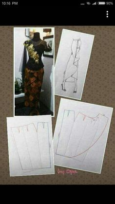 Discover thousands of images about Saroeng skirt Dress Sewing Patterns, Clothing Patterns, Pattern Sewing, Sewing Tutorials, Sewing Projects, Pola Rok, Pattern Draping, Gown Pattern, Modelista