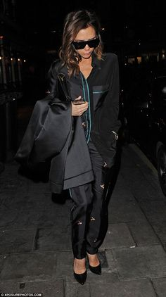 Slouchy: Victoria embraced the trend for the loose fitting clothing on her night out...