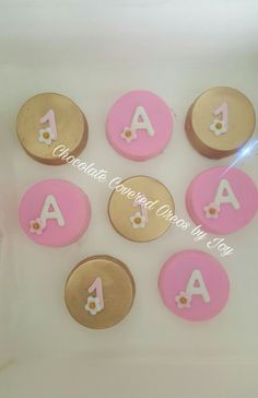 Pink and Gold Chocolate covered oreos