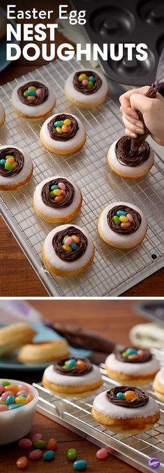 How to Make Easter Egg Nest Doughnuts -  Bake your own fresh, delicious doughnuts in the Wilton Donut Pan. Then pipe a  nest of chocolate icing you can fill with your favorite jelly bean eggs. These donuts are perfect to serve on Easter morning!